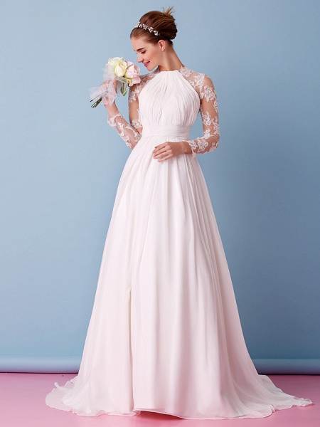 A-Line Jewel Neck Sweep \ Brush Train Chiffon Sheer Lace Long Sleeve Simple Boho Little White Dress See-Through Illusion Sleeve Wedding Dresses_1