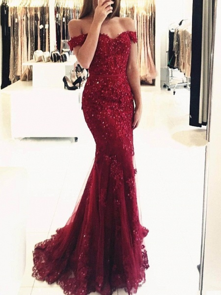Mermaid \ Trumpet Sparkle Red Prom Formal Evening Dress Off Shoulder Short Sleeve Sweep \ Brush Train Lace_1