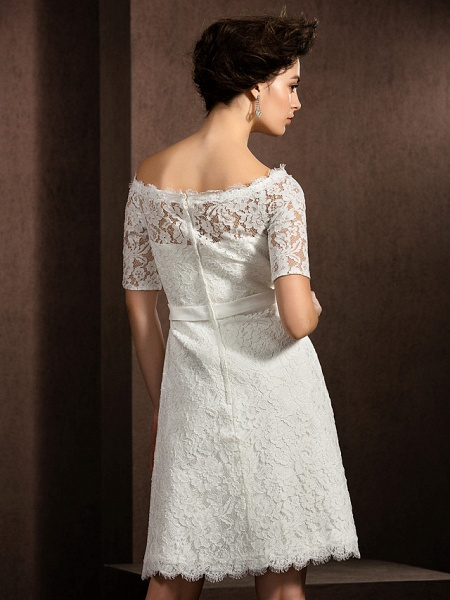 A-Line Wedding Dresses Bateau Neck Knee Length Lace Half Sleeve Formal Casual Little White Dress Illusion Sleeve_4
