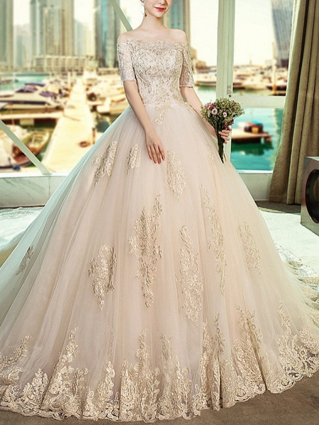 Ball Gown Wedding Dresses Off Shoulder Sweep \ Brush Train Lace Short Sleeve Beach_1