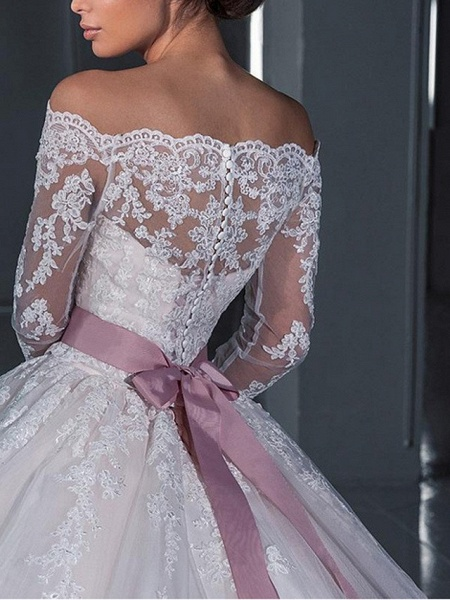 Ball Gown Wedding Dresses Off Shoulder Sweep \ Brush Train Lace Long Sleeve Glamorous See-Through Illusion Sleeve_4