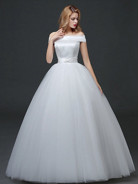 Ball Gown Wedding Dresses Off Shoulder Floor Length Lace Tulle Polyester Cap Sleeve Formal_1
