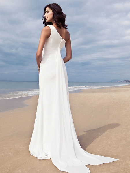 Sheath \ Column Wedding Dresses One Shoulder Sweep \ Brush Train Chiffon Regular Straps Simple Plus Size_2
