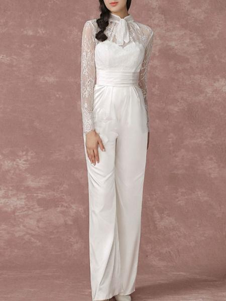 Jumpsuits Wedding Dresses Jewel Neck Floor Length Lace Long Sleeve Simple Modern_2