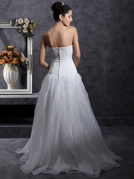 Princess A-Line Wedding Dresses Strapless Organza Satin Sleeveless_8