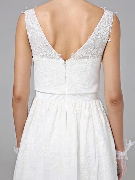 A-Line Wedding Dresses V Neck Floor Length Lace Regular Straps Simple Illusion Detail_10
