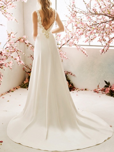 Mermaid \ Trumpet Wedding Dresses V Neck Sweep \ Brush Train Chiffon Satin Sleeveless Vintage Sexy Wedding Dress in Color Backless_2