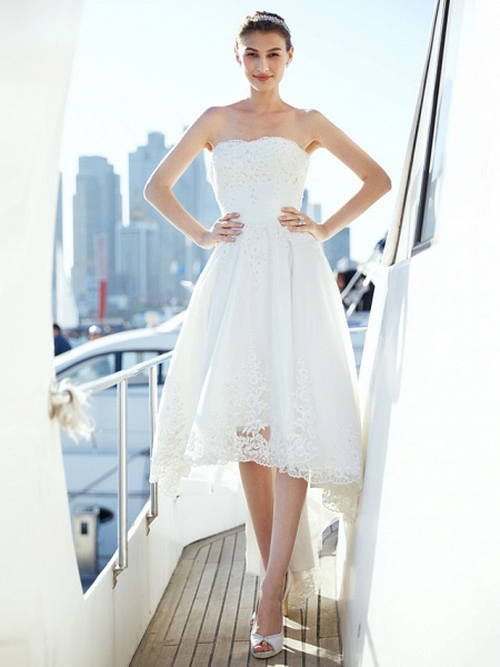 A-Line Wedding Dresses Strapless Asymmetrical Tulle Strapless Casual Beach Little White Dress Backless_5