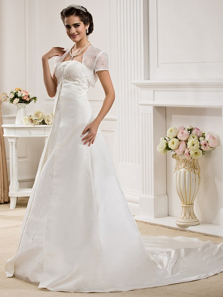 Princess A-Line Wedding Dresses Strapless Court Train Organza Satin Sleeveless_3