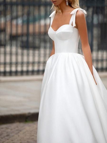 A-Line Wedding Dresses Sweetheart Neckline Sweep \ Brush Train Satin Spaghetti Strap Plus Size_3