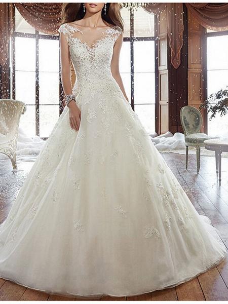 A-Line Wedding Dresses V Neck Court Train Tulle Regular Straps Formal Plus Size_1