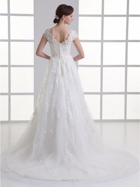 A-Line Sweetheart Neckline Court Train Lace Satin Tulle Cap Sleeve Wedding Dresses_3