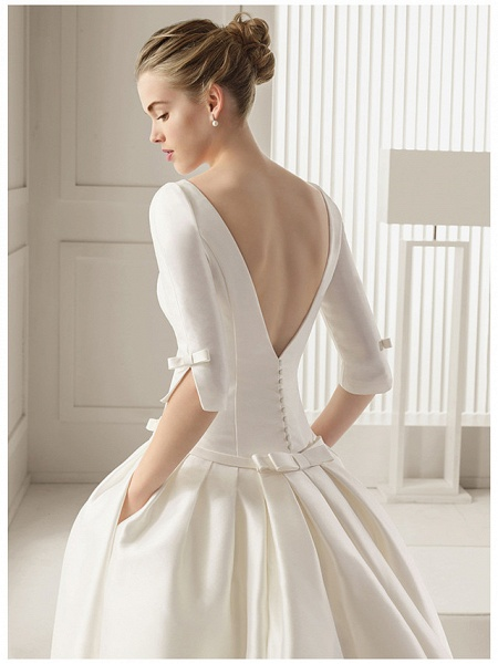 A-Line Wedding Dresses Bateau Neck Court Train Polyester Half Sleeve Sexy Plus Size_2