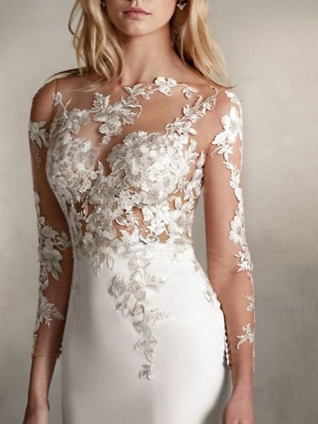 Mermaid \ Trumpet Wedding Dresses Jewel Neck Sweep \ Brush Train Lace Tulle Stretch Satin Long Sleeve Sexy See-Through_3