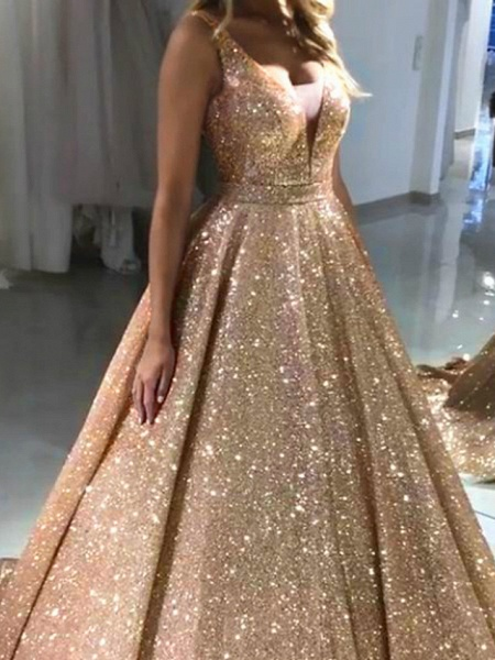 Ball Gown Luxurious Sparkle Quinceanera Prom Dress V Neck Sleeveless Sweep \ Brush Train Sequined_3