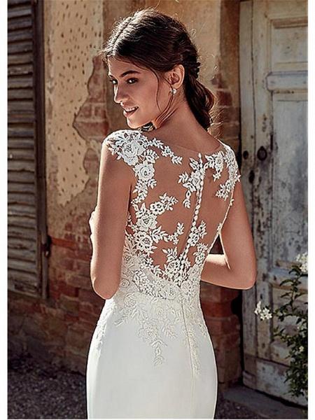 A-Line Wedding Dresses Bateau Neck Court Train Chiffon Lace Tulle Cap Sleeve Illusion Detail Backless_4