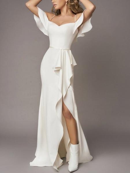 A-Line Wedding Dresses Off Shoulder Sweep \ Brush Train Chiffon Over Satin Short Sleeve Simple_2
