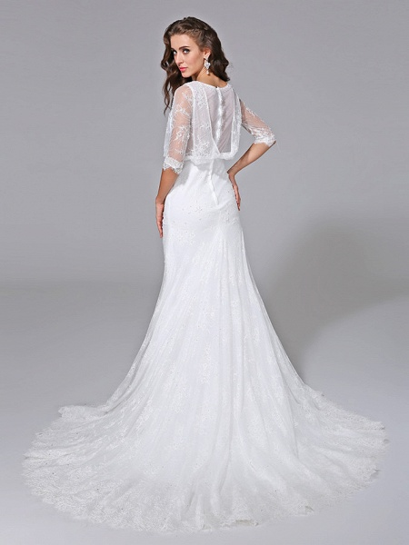 Mermaid \ Trumpet Wedding Dresses Scoop Neck Court Train Satin Lace Over Tulle Half Sleeve Simple Backless Illusion Sleeve_2