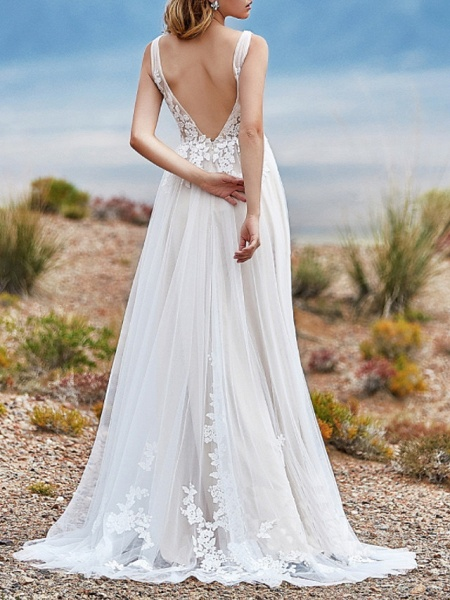 A-Line Wedding Dresses V Neck Sweep \ Brush Train Lace Tulle Sleeveless Vintage Sexy Wedding Dress in Color Backless_2