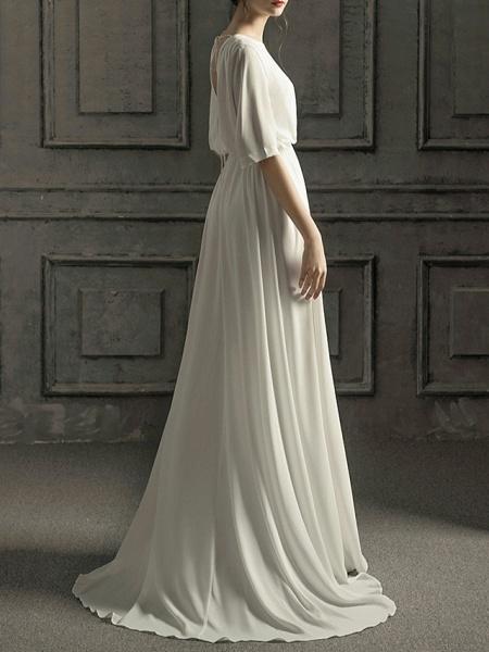 A-Line Wedding Dresses Jewel Neck Sweep \ Brush Train Chiffon Satin Half Sleeve Simple Elegant_7