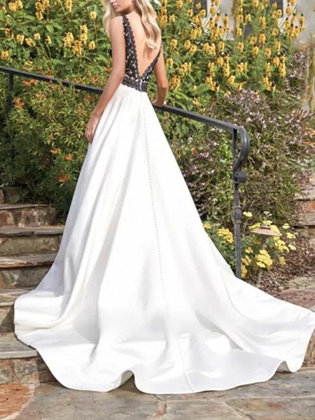 A-Line Wedding Dresses V Neck Sweep \ Brush Train Satin Sleeveless Beach Plus Size Black_3