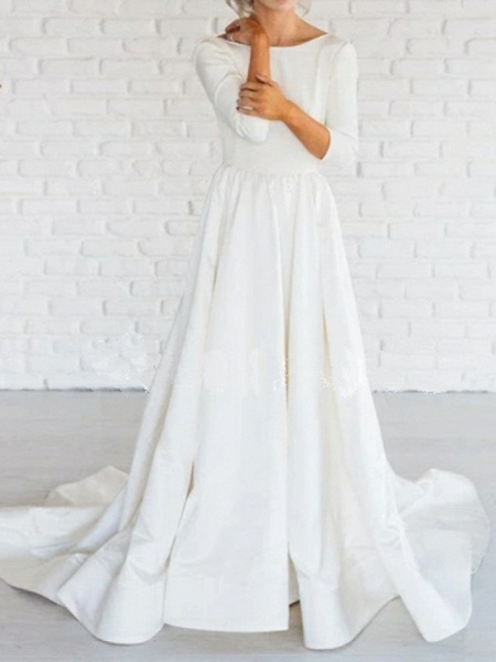 A-Line Wedding Dresses Bateau Neck Sweep \ Brush Train Satin 3\4 Length Sleeve Simple Backless_1