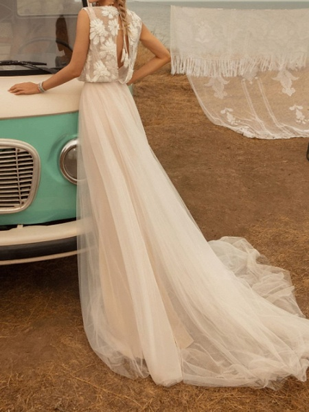 A-Line Wedding Dresses Jewel Neck Sweep \ Brush Train Tulle Polyester Short Sleeve Country Plus Size_3