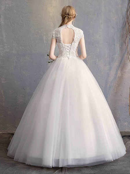 Ball Gown Wedding Dresses High Neck Floor Length Lace Tulle Lace Over Satin Short Sleeve Vintage Illusion Sleeve_7