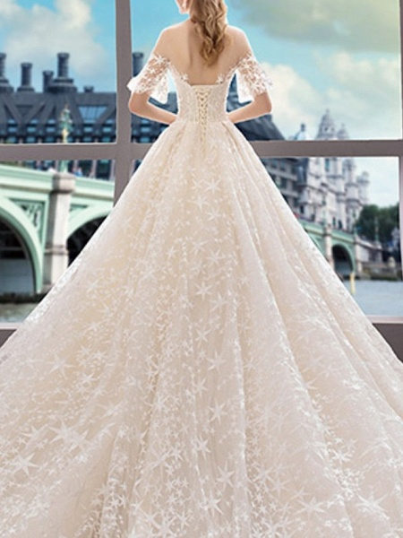 A-Line Bateau Neck Court Train Polyester Short Sleeve Illusion Sleeve Wedding Dresses_3