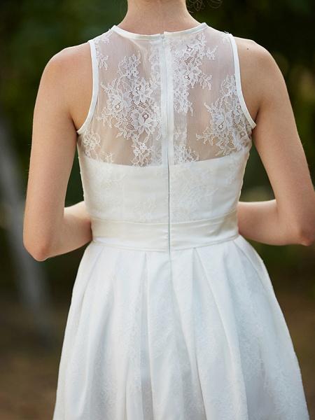 A-Line Wedding Dresses Jewel Neck Knee Length Lace Sleeveless Little White Dress_9