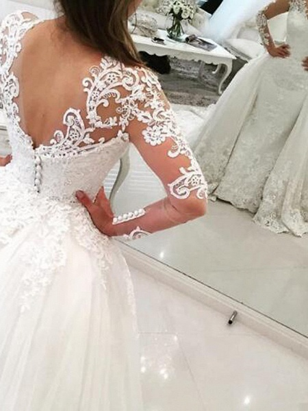 Ball Gown Mermaid \ Trumpet V Neck Sweep \ Brush Train Lace Tulle Lace Over Satin Long Sleeve Glamorous See-Through Illusion Sleeve Wedding Dresses_2