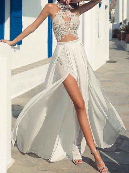 A-Line Wedding Dresses Halter Neck Court Train Lace Chiffon Over Satin Sleeveless Beach Boho Sexy See-Through_1