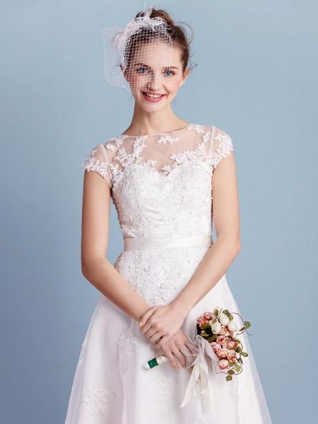 A-Line Wedding Dresses Bateau Neck Tea Length Organza Cap Sleeve Simple Casual Illusion Detail_3