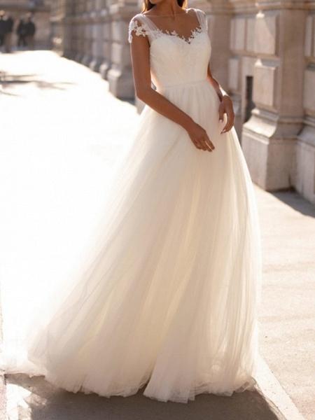 A-Line Wedding Dresses V Neck Sweep \ Brush Train Tulle Cap Sleeve Simple_2