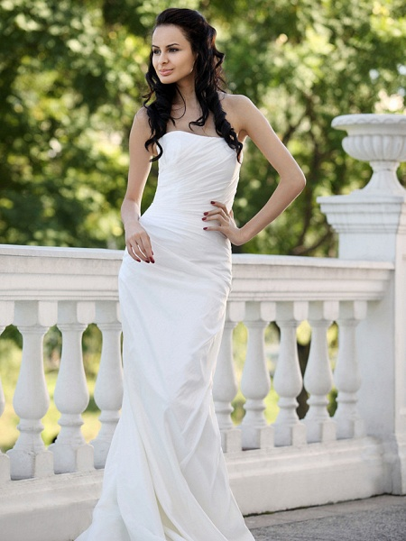 Mermaid \ Trumpet Wedding Dresses Strapless Court Train Taffeta Short Sleeve_8