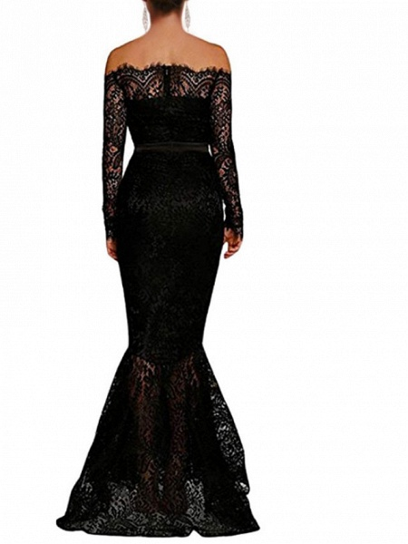 Mermaid \ Trumpet Wedding Dresses Off Shoulder Floor Length Polyester Long Sleeve Formal Plus Size Black_3