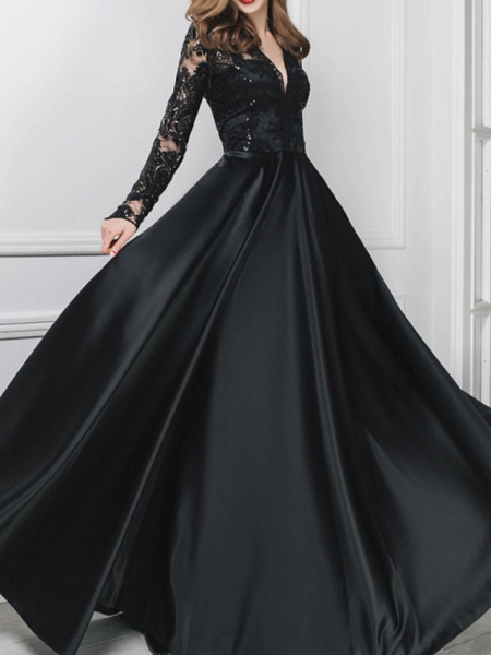 A-Line Wedding Dresses V Neck Floor Length Polyester Long Sleeve Formal Plus Size Black Modern_2