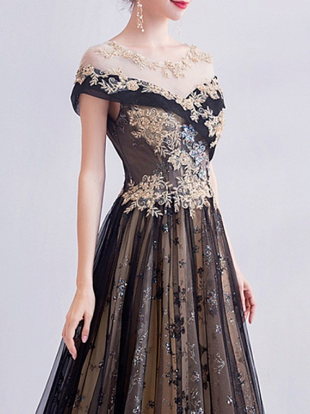 A-Line Wedding Dresses Jewel Neck Sweep \ Brush Train Lace Tulle Short Sleeve Formal Black_3