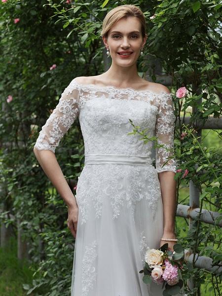 Princess A-Line Wedding Dresses Off Shoulder Floor Length Lace Tulle Half Sleeve Floral Lace_5