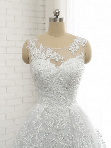A-Line Wedding Dresses Scoop Neck Court Train Lace Tulle Lace Over Satin Regular Straps Romantic See-Through_6