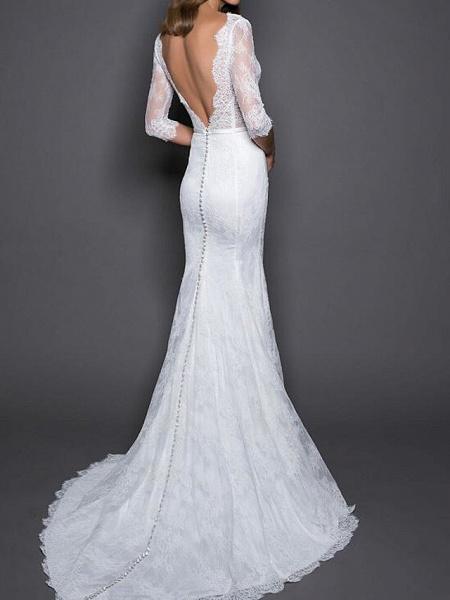 Mermaid \ Trumpet Wedding Dresses V Neck Sweep \ Brush Train Lace Satin Half Sleeve Country Plus Size_2
