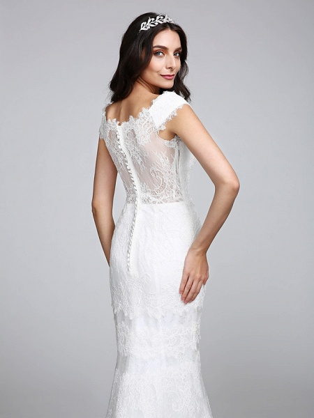 Mermaid \ Trumpet Wedding Dresses V Neck Floor Length All Over Lace Cap Sleeve Romantic Sexy Illusion Detail Backless_8
