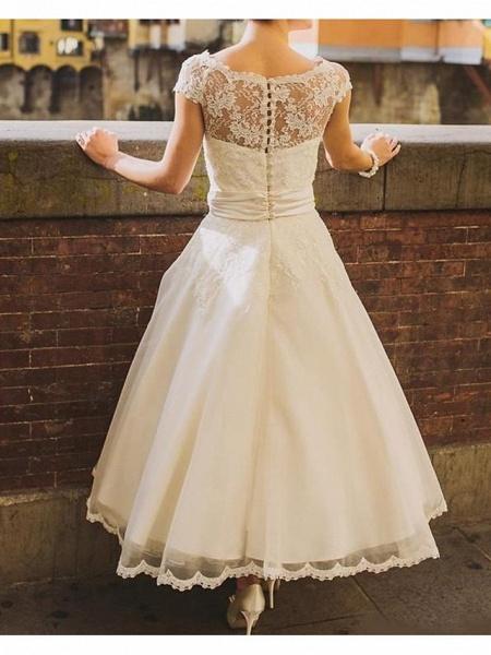 A-Line Wedding Dresses Jewel Neck Ankle Length Polyester Short Sleeve Vintage Plus Size_2