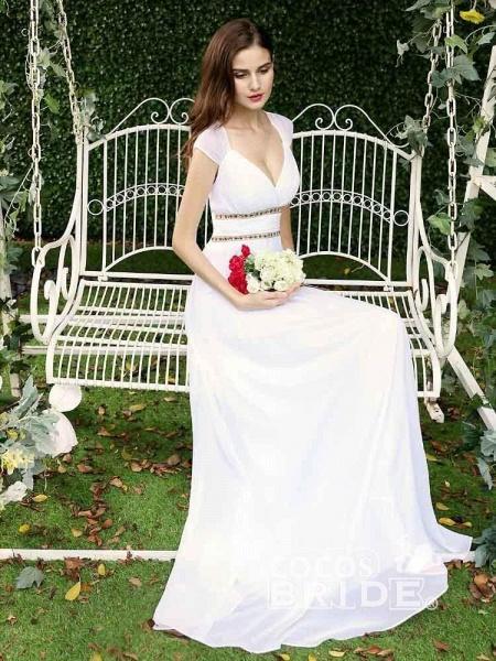 Simple V Neck Cap Sleeve Boho Wedding Dresses_5