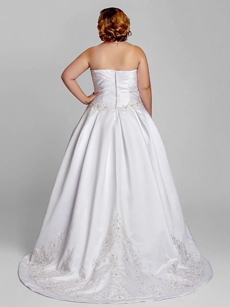 A-Line Wedding Dresses Strapless Court Train Satin Strapless Romantic Illusion Detail_4