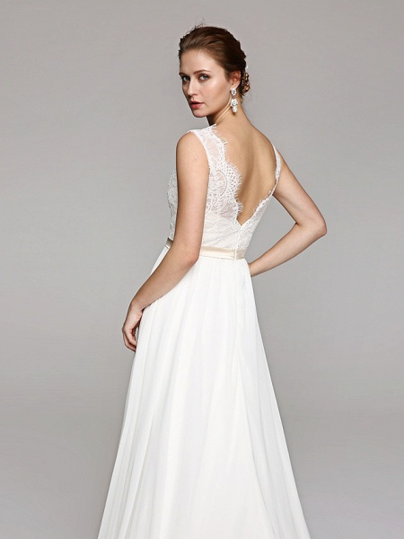 A-Line Wedding Dresses V Neck Court Train Chiffon Lace Bodice Regular Straps Simple Illusion Detail Backless_5