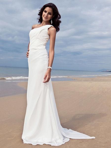 Sheath \ Column Wedding Dresses One Shoulder Sweep \ Brush Train Chiffon Regular Straps Simple Plus Size_4