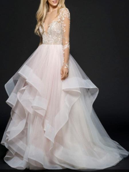 A-Line Wedding Dresses V Neck Floor Length Lace Tulle Long Sleeve Illusion Sleeve_1