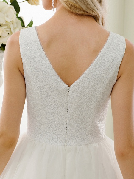 A-Line Wedding Dresses Bateau Neck Tea Length Tulle Sequined Regular Straps Simple Little White Dress_10