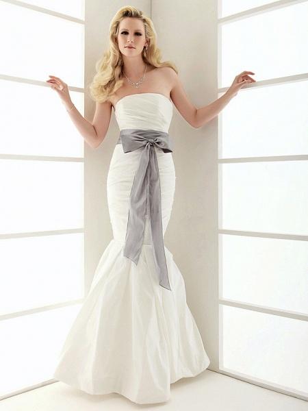 Mermaid \ Trumpet Wedding Dresses Strapless Floor Length Taffeta Sleeveless Wedding Dress in Color_3